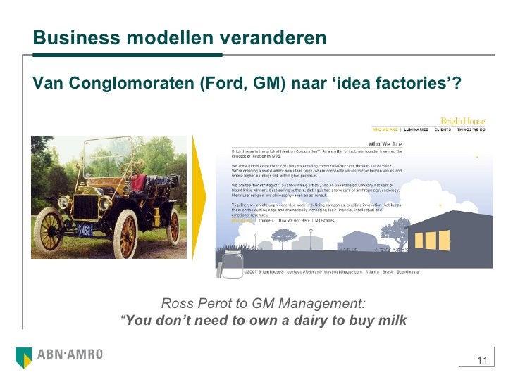 """Business modellen veranderen  Ross Perot to GM Management: """" You don't need to own a dairy to buy milk Van Conglomoraten (..."""