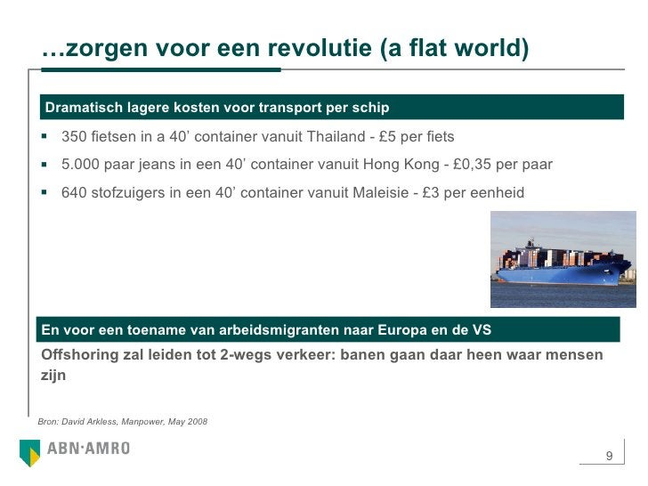 … zorgen voor een revolutie (a flat world) <ul><ul><li>350 fietsen in a 40' container vanuit Thailand - £5 per fiets </li>...