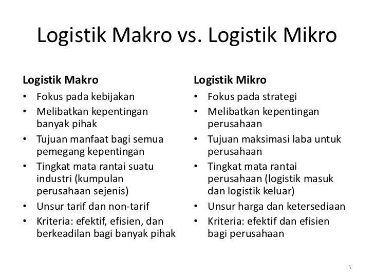 Logistik Makro vs. Logistik MikroLogistik Makro                      Logistik Mikro• Fokus pada kebijakan              • F...