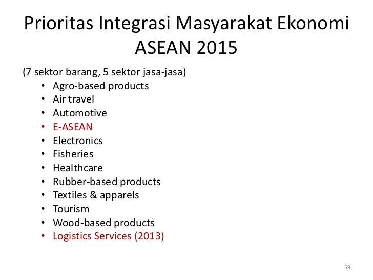 Prioritas Integrasi Masyarakat Ekonomi              ASEAN 2015(7 sektor barang, 5 sektor jasa-jasa)    • Agro-based produc...