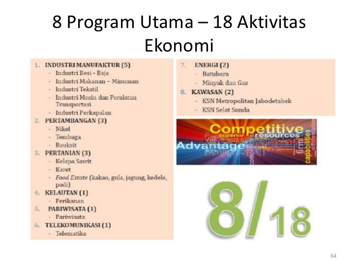 8 Program Utama – 18 Aktivitas          Ekonomi                                 64