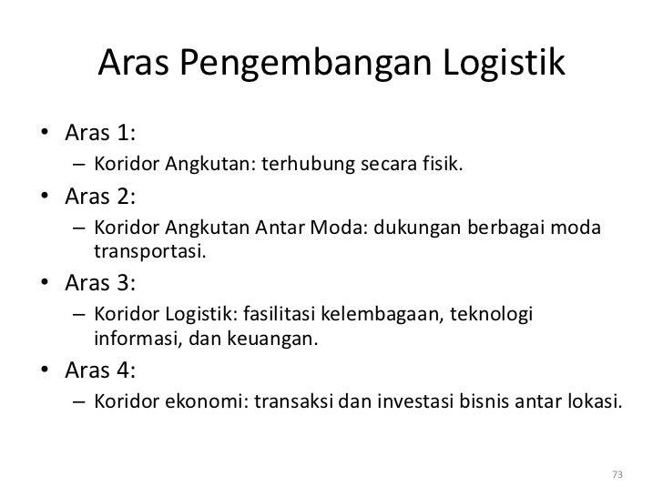 Aras Pengembangan Logistik• Aras 1:   – Koridor Angkutan: terhubung secara fisik.• Aras 2:   – Koridor Angkutan Antar Moda...