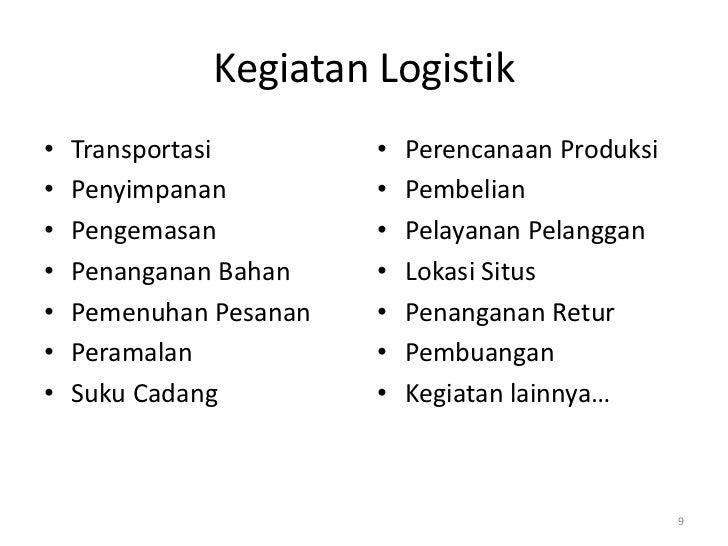 Kegiatan Logistik•   Transportasi        •   Perencanaan Produksi•   Penyimpanan         •   Pembelian•   Pengemasan      ...