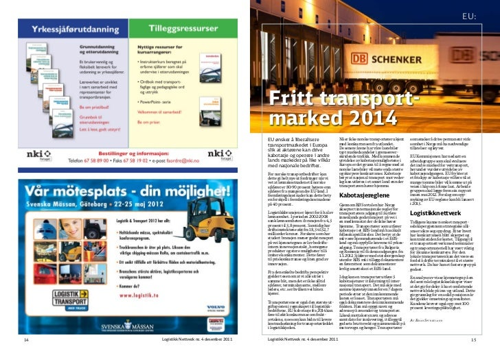 EU:                                              Fritt transport-                                              marked 2014...