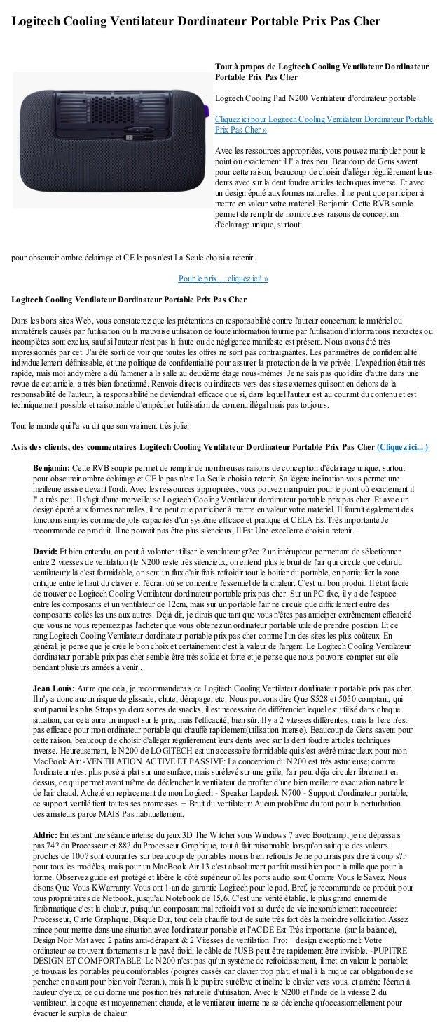Logitech Cooling Ventilateur Dordinateur Portable Prix Pas Cherpour obscurcir ombre éclairage et CE le pas nest La Seule c...