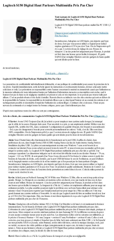 Logitech S150 Digital Haut Parleurs Multimédia Prix Pas Cherde travail modernes.Pour le prix ... cliquez ici! »Logitech S1...