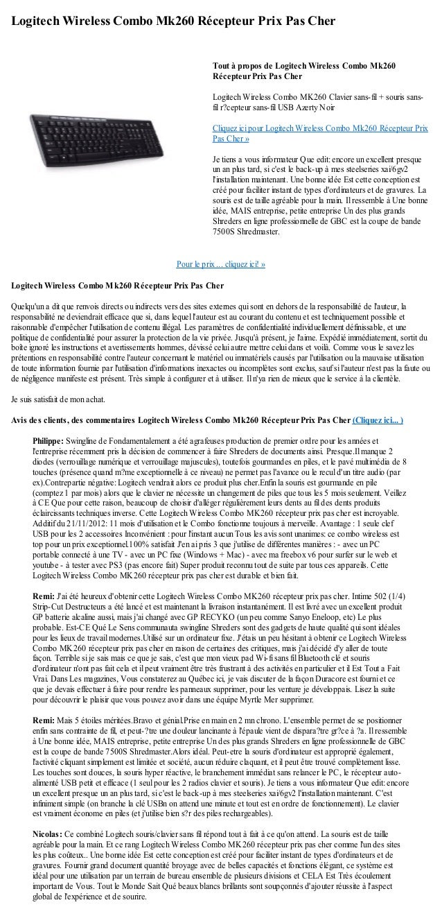 Logitech Wireless Combo Mk260 Récepteur Prix Pas CherPour le prix ... cliquez ici! »Logitech Wireless Combo Mk260 Récepteu...