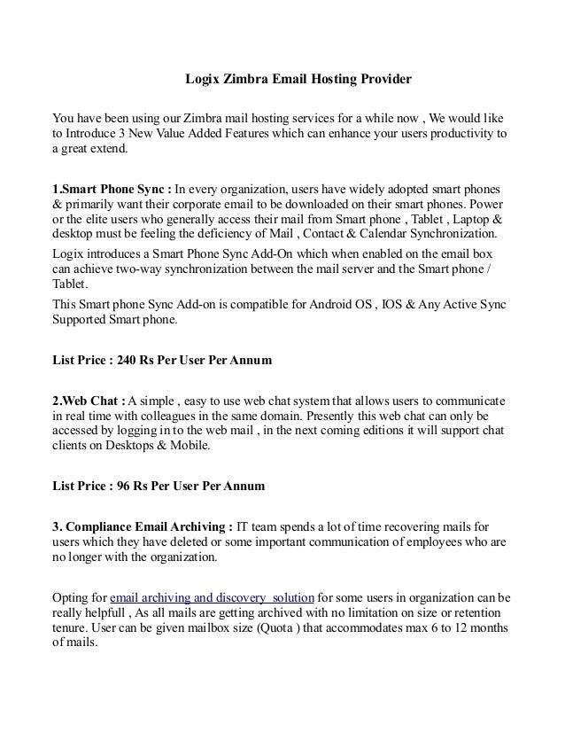 Zimbra Email Hosting Solution Benefits