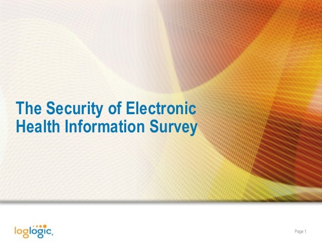 Page 1 The Security of Electronic Health Information Survey