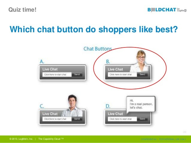 Quiz time! Which chat button do shoppers like best? © 2013, LogMeIn, Inc. | The Capability Cloud TM CONFIDENTIAL - FOR INT...