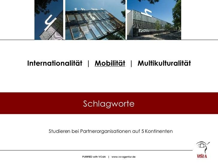 Internationalität  |  Mobilität   |  Multikulturalität Studieren bei Partnerorganisationen auf 5 Kontinenten Schlagworte