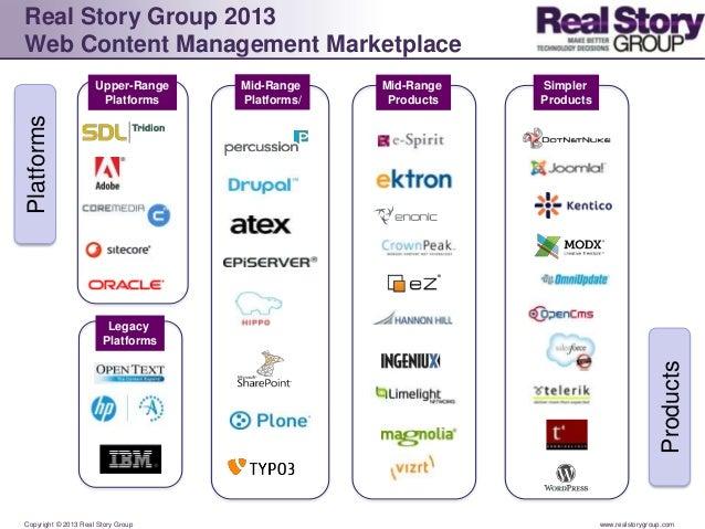 Real Story Group 2013Web Content Management Marketplace                     Upper-Range    Mid-Range    Mid-Range   Simple...