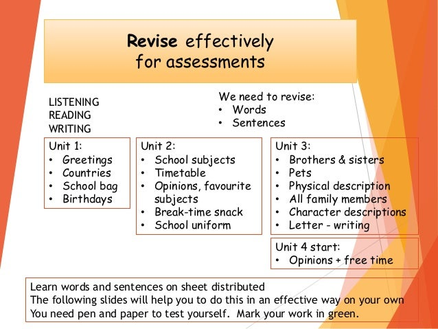 Revise effectively for assessments We need to revise: • Words • Sentences LISTENING READING WRITING Learn words and senten...