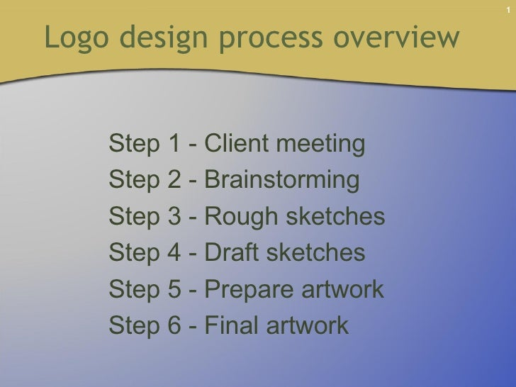 Logo design process overview  Step 1 - Client meeting Step 2 - Brainstorming Step 3 - Rough sketches Step 4 - Draft sketch...