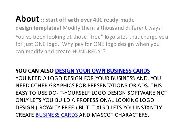 Logo design software review free logo design software graphics generator 2 you can also design your own business cards colourmoves