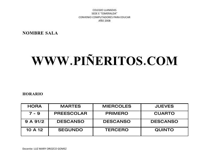 """COLEGIO LLANADAS                                          SEDE E """"ESMERALDA""""                                  CONVENIO COM..."""