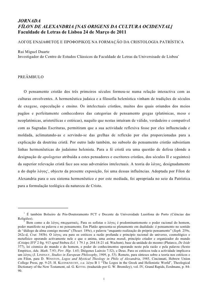 JORNADAFÍLON DE ALEXANDRIA [NAS ORIGENS DA CULTURA OCIDENTAL]Faculdade de Letras de Lisboa 24 de Março de 2011ΛΟΓΟΣ ΕΝΔΙΑΘ...