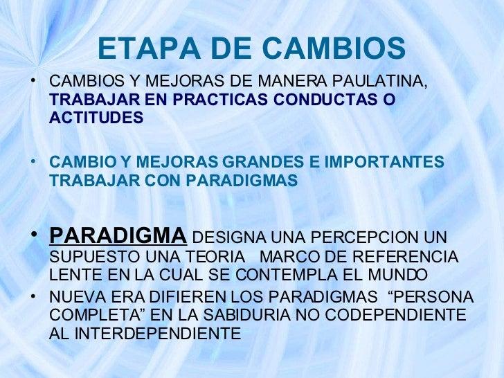 ETAPA DE CAMBIOS <ul><li>CAMBIOS Y MEJORAS DE MANERA PAULATINA,  TRABAJAR EN PRACTICAS CONDUCTAS O ACTITUDES </li></ul><ul...