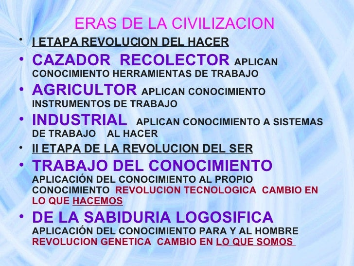 ERAS DE LA CIVILIZACION   <ul><li>I ETAPA REVOLUCION DEL HACER   </li></ul><ul><li>CAZADOR  RECOLECTOR   APLICAN CONOCIMIE...