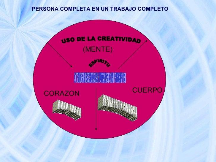 ESPIRITU (MENTE)  CUERPO CORAZON  PERSONA COMPLETA EN UN TRABAJO COMPLETO USO DE LA CREATIVIDAD RETRIBUCION CORRECTA BUEN ...