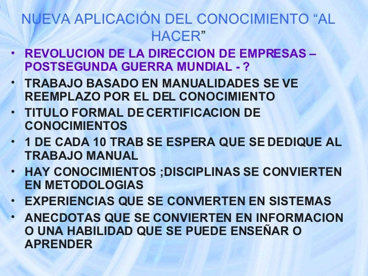 """NUEVA APLICACIÓN DEL CONOCIMIENTO """"AL HACER """" <ul><li>REVOLUCION DE LA DIRECCION DE EMPRESAS – POSTSEGUNDA GUERRA MUNDIAL ..."""