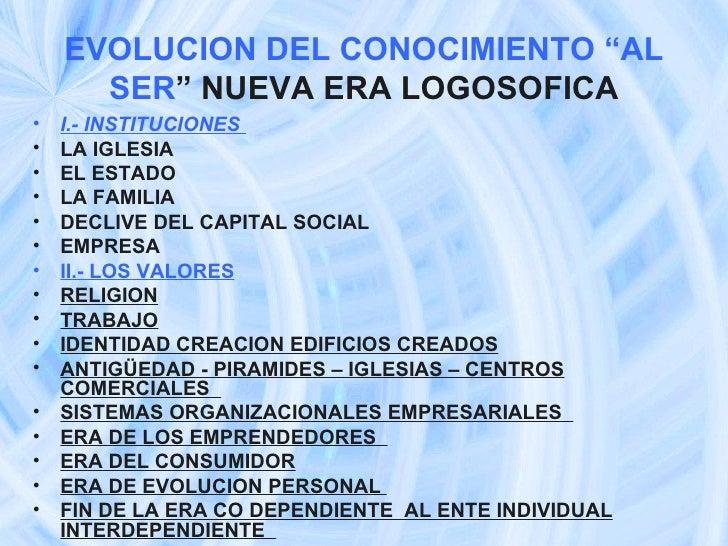 """EVOLUCION DEL CONOCIMIENTO """"AL SER """" NUEVA ERA LOGOSOFICA <ul><li>I.- INSTITUCIONES  </li></ul><ul><li>LA IGLESIA </li></u..."""