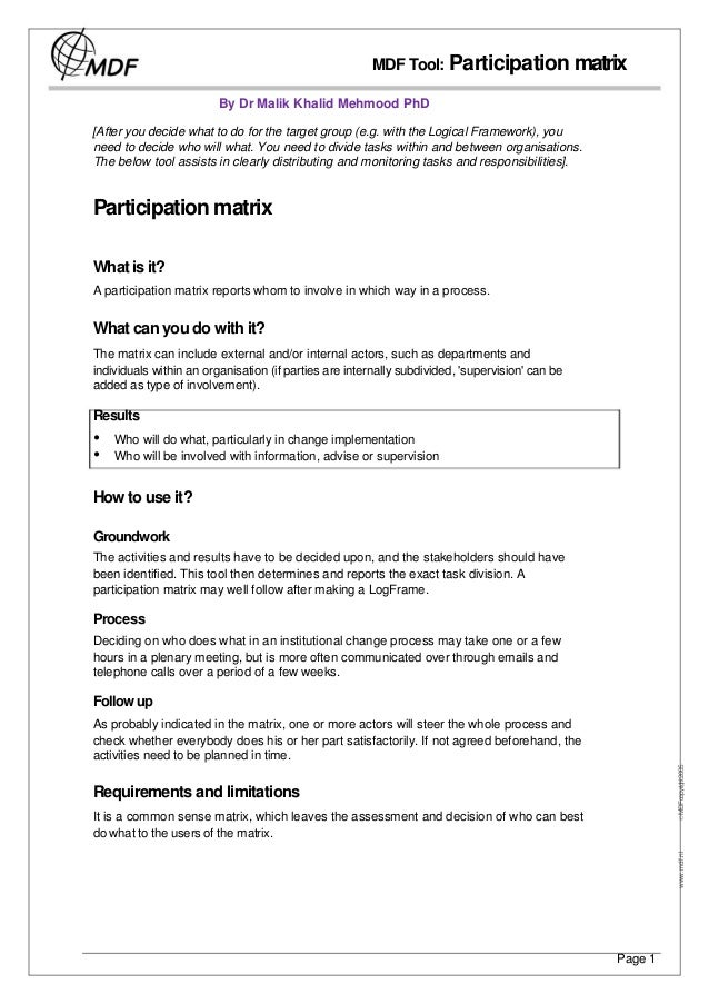 MDF Tool: Participation matrix                         By Dr Malik Khalid Mehmood PhD[After you decide what to do for the ...