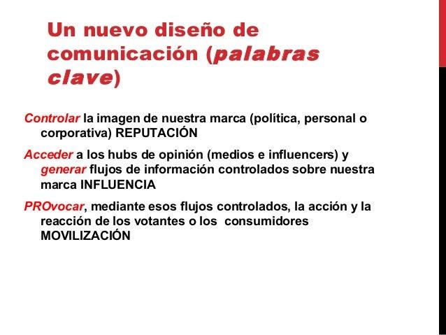 Un nuevo diseño de comunicación (palabras clave) Controlar la imagen de nuestra marca (política, personal o corporativa) R...