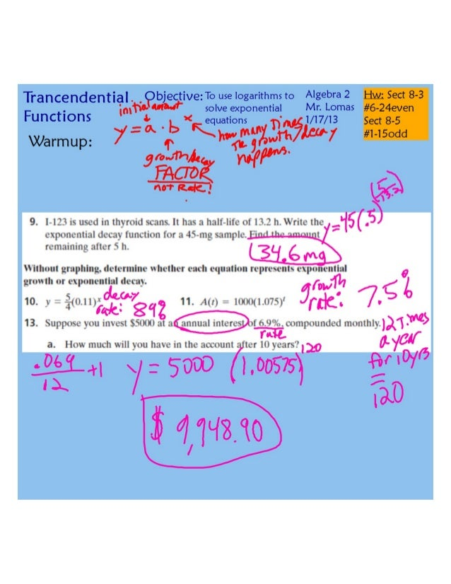 Logs and solving exponential equations