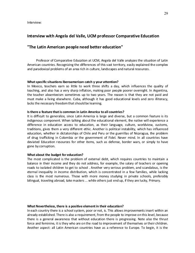 """29Interview:Interview with Angela del Valle, UCM professor Comparative Education""""The Latin American people need better edu..."""
