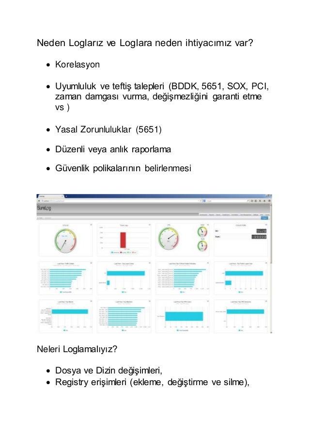 Neden Loglarız ve Loglara neden ihtiyacımız var?  Korelasyon  Uyumluluk ve teftiş talepleri (BDDK, 5651, SOX, PCI, zaman...