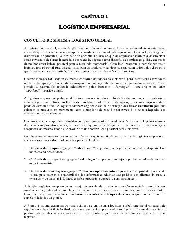 1                                           CAPÍTULO 1                          LOGÍSTICA EMPRESARIALCONCEITO DE SISTEMA L...