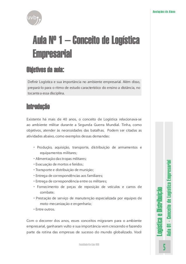 LogísticaeDistribuição Aula01-ConceitodeLogísticaEmpresarial Faculdade On-Line UVB Anotações do Aluno uvb Aula Nº 1 – Conc...