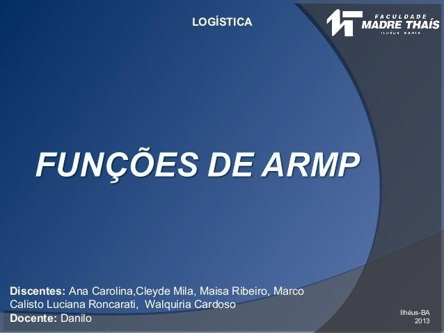 LOGÍSTICA Ilhéus-BA 2013 Discentes: Ana Carolina,Cleyde Mila, Maisa Ribeiro, Marco Calisto Luciana Roncarati, Walquiria Ca...