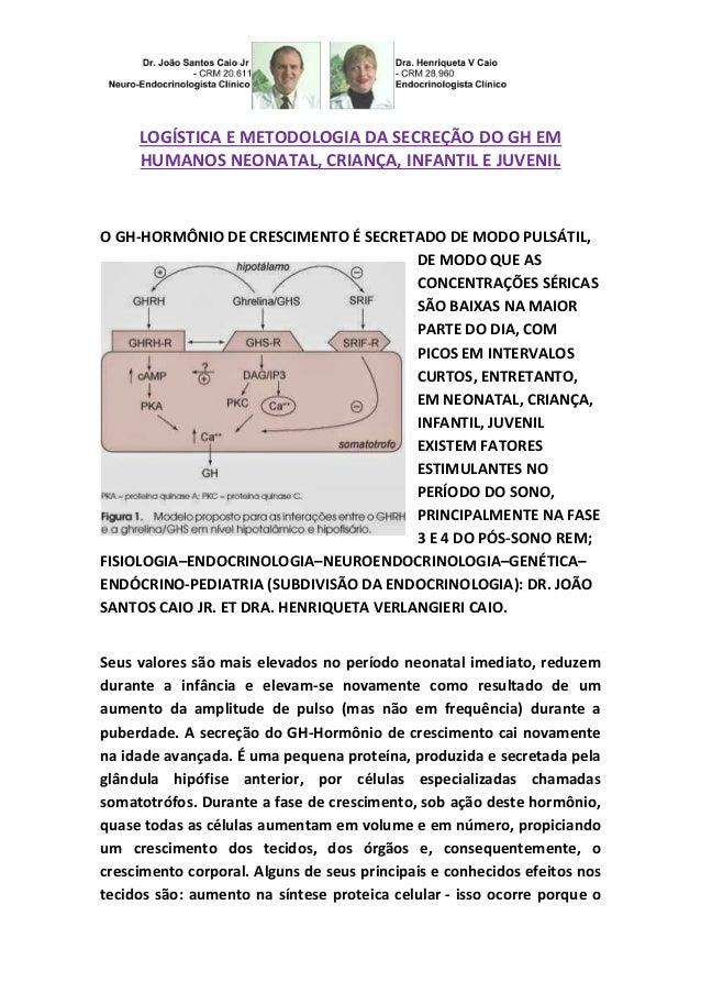 LOGÍSTICA E METODOLOGIA DA SECREÇÃO DO GH EM  HUMANOS NEONATAL, CRIANÇA, INFANTIL E JUVENIL  O GH-HORMÔNIO DE CRESCIMENTO ...