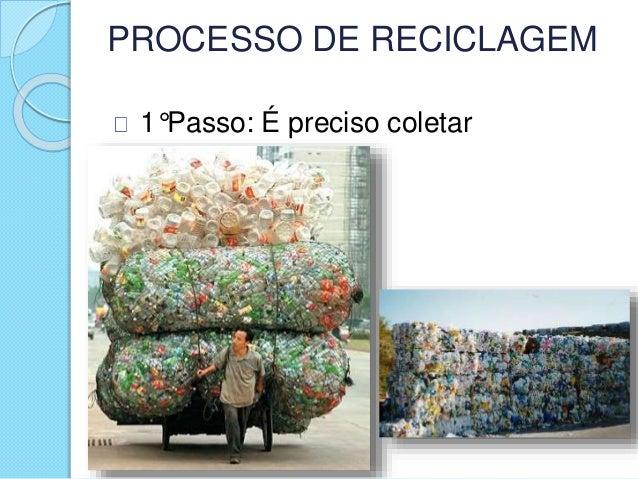 PROCESSO DE RECICLAGEM 1°Passo: É preciso coletar
