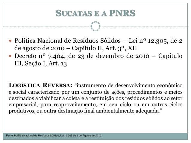 SUCATAS E A PNRS  Política Nacional de Resíduos Sólidos – Lei nº 12.305, de 2 de agosto de 2010 – Capítulo II, Art. 3º, X...