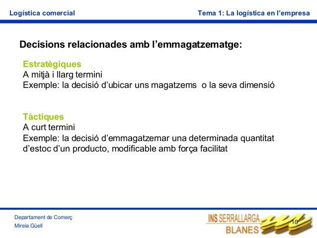Logística comercial  Tema 1: La logística en l'empresa  Decisions relacionades amb l'emmagatzematge: Estratègiques A mitjà...