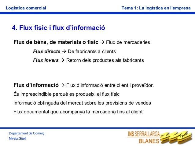 Logística comercial  Tema 1: La logística en l'empresa  4. Flux físic i flux d'informació Flux de béns, de materials o fís...