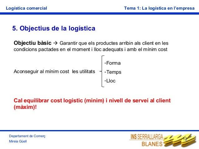Logística comercial  Tema 1: La logística en l'empresa  5. Objectius de la logística Objectiu bàsic  Garantir que els pro...