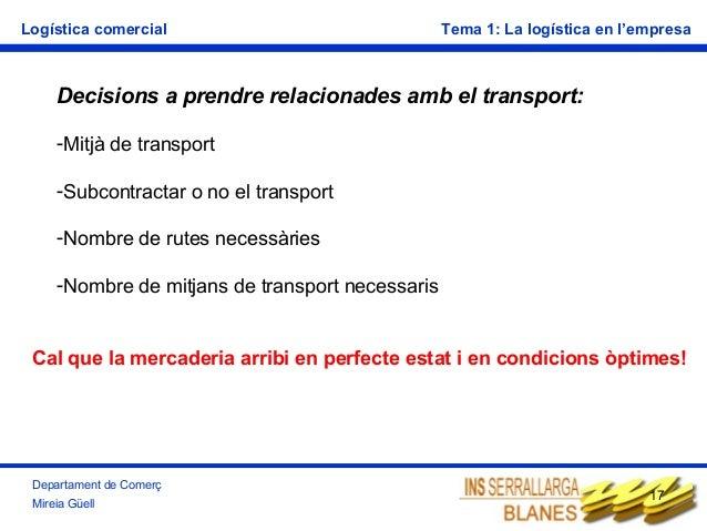 Logística comercial  Tema 1: La logística en l'empresa  Decisions a prendre relacionades amb el transport: -Mitjà de trans...