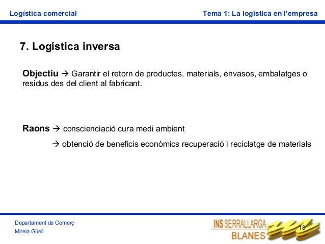 Logística comercial  Tema 1: La logística en l'empresa  7. Logística inversa Objectiu  Garantir el retorn de productes, m...