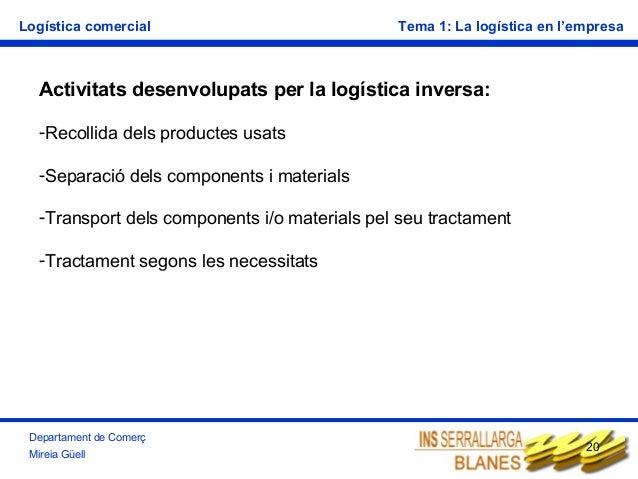 Logística comercial  Tema 1: La logística en l'empresa  Activitats desenvolupats per la logística inversa: -Recollida dels...