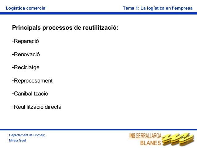 Logística comercial  Tema 1: La logística en l'empresa  Principals processos de reutilització: -Reparació -Renovació -Reci...