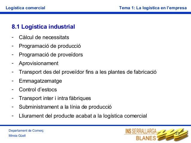 Logística comercial  Tema 1: La logística en l'empresa  8.1 Logística industrial -  Càlcul de necessitats  -  Programació ...