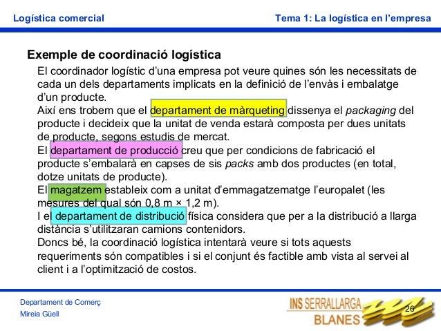 Logística comercial  Tema 1: La logística en l'empresa  Exemple de coordinació logística El coordinador logístic d'una emp...