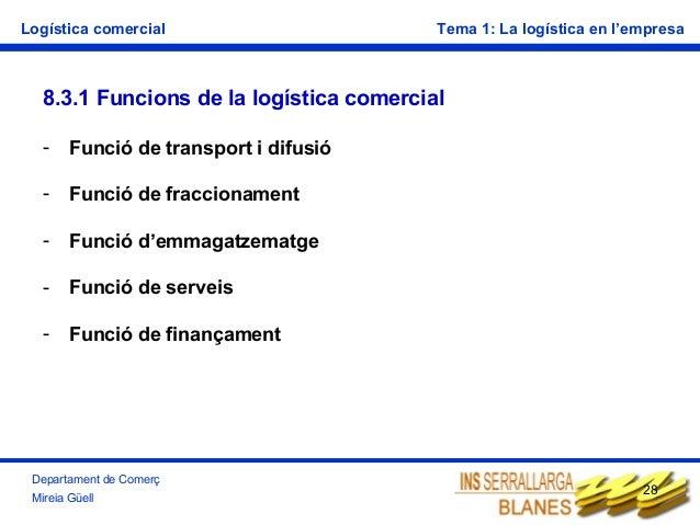 Logística comercial  Tema 1: La logística en l'empresa  8.3.1 Funcions de la logística comercial -  Funció de transport i ...