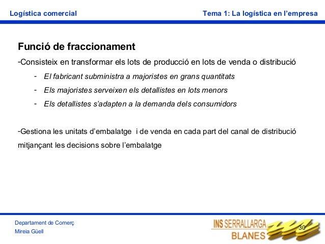 Logística comercial  Tema 1: La logística en l'empresa  Funció de fraccionament -Consisteix en transformar els lots de pro...