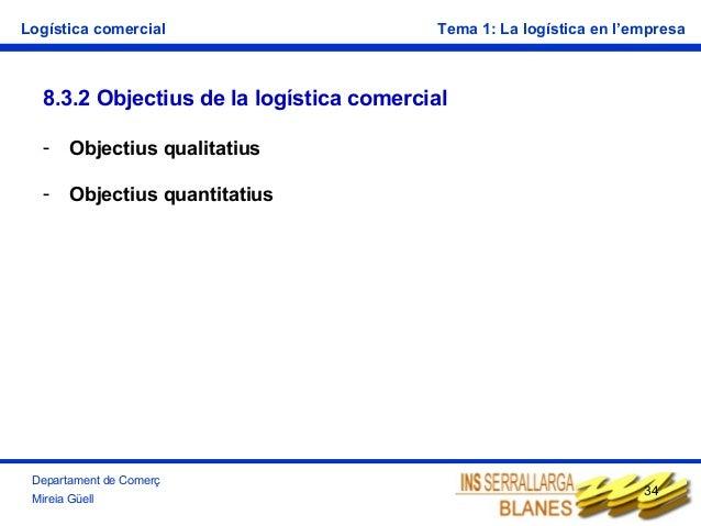 Logística comercial  Tema 1: La logística en l'empresa  8.3.2 Objectius de la logística comercial -  Objectius qualitatius...