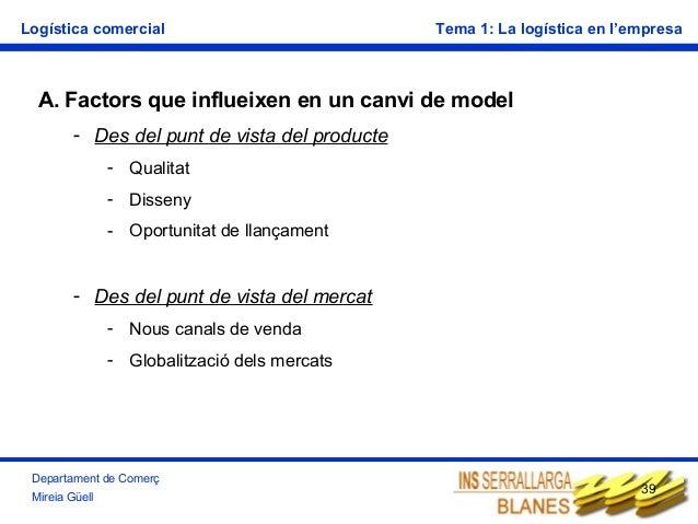 Logística comercial  Tema 1: La logística en l'empresa  A. Factors que influeixen en un canvi de model - Des del punt de v...